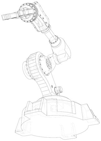 Robotic arm. Technical wire-frame. Vector rendering of 3d.  format.