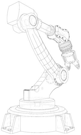 Robot .  format. Wire-frame Vector created of 3d.