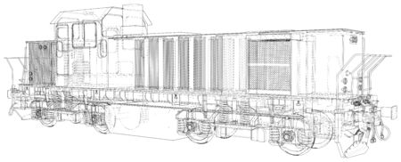 Train.  format. Vector created of 3d, Wire-frame.