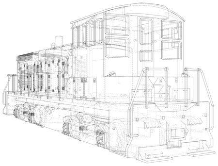 Train engines. Technical wire-frame. Vector rendering of 3d.  format.