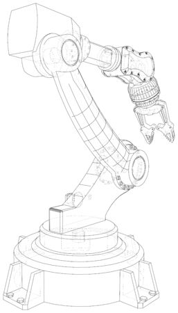 Robotic arm. Technical wire-frame. Vector rendering of 3d.  format. Banco de Imagens - 130056760