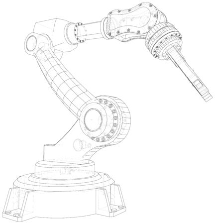 Robotic Arm Hand isolated on white. Technical wire-frame. Vector rendering of 3d. Banco de Imagens - 130056761