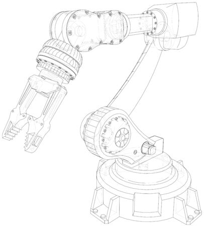 Robot arm, industrial machinery. Technical illustration wire-frame. Vector rendering of 3d. Banco de Imagens - 130056762