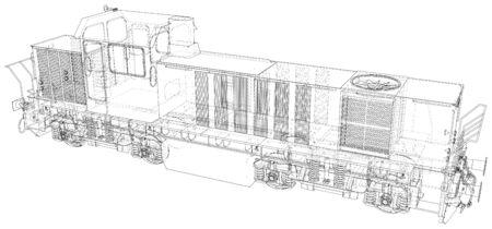 Locomotive wire-frame. Vector illustration. Tracing illustration of 3d.