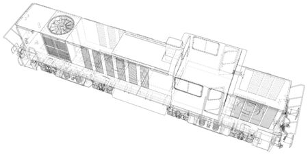 Train. Technical wire-frame. Vector rendering of 3d. Иллюстрация