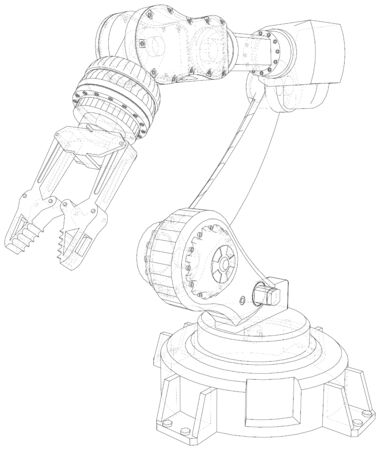 Robot hand wire-frame. Vector illustration. Tracing illustration of 3d.