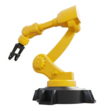 Robotic arm on white background. Mechanical hand. Industrial robot manipulator. Modern industrial technology. 3d rendering.