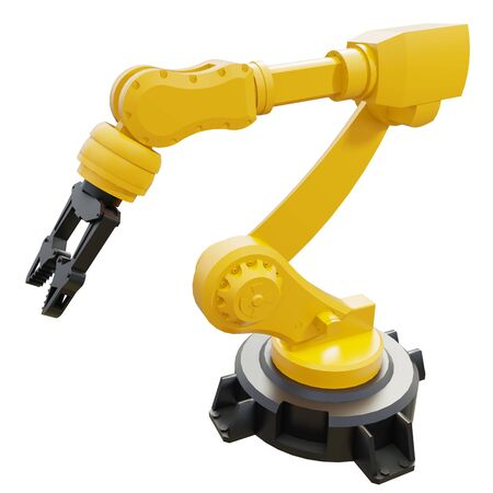 Robotic Arm isolated on white background. 3d rendering.