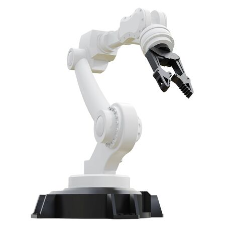 Robotic arm on white background. 3d rendering. Фото со стока