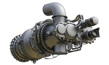 Motor de turbina de gas de central eléctrica. Representación 3D. Foto de archivo