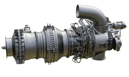 Gas turbine engine centrifugal type of sales gases compressor in pressurized enclosure. 3d rendering.