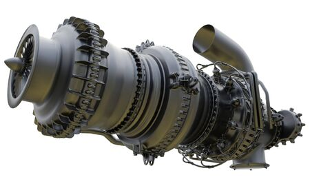 Gas turbine engine of feed gas compressor. 3d rendering.