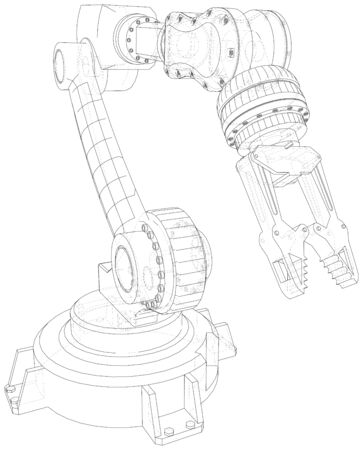 Robot hand. EPS10 format. Wire-frame Vector created of 3d. Ilustracja