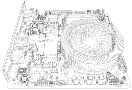 Contexte technologique. CPU sur une carte mère sur fond blanc. Illustration créée en 3d.