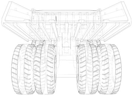 Heavy duty dump truck tipper drawing on white.  format. Vector created of 3d. Wire-frame style.