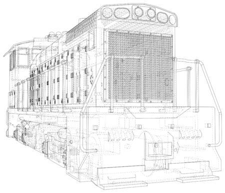 Estructura de alambre de locomotora. Ilustración de vector. Ilustración de seguimiento de 3d.