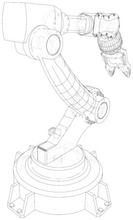 Industrial robot manipulator. Wire-frame on white background. EPS10 format. Vector created of 3d, Wire-frame. Ilustracja