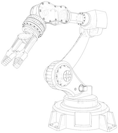 Industrial robot manipulator.  format. Wire-frame Vector created of 3d.  format. Ilustracja