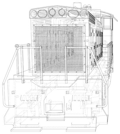 Locomotive, Train.  format. Wire-frame Vector created of 3d. Ilustracja