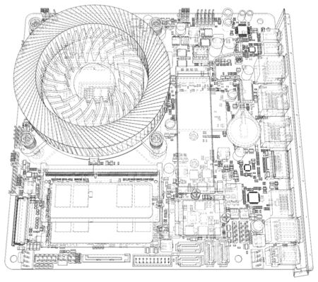 Technology background. CPU on a motherboard on white background. Illustration created of 3d.