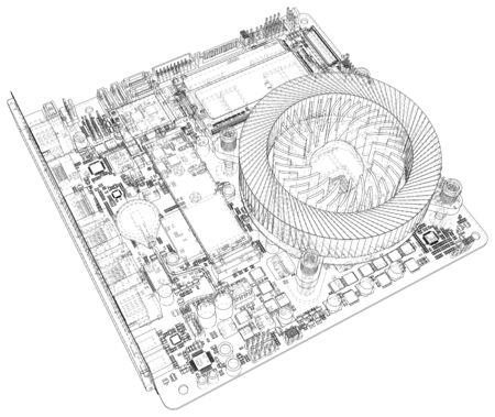 Computer motherboard. Motherboard digital chip. Vector rendering of 3d. Banque d'images - 130058182