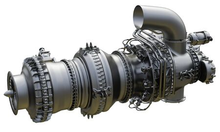 Gas turbine aircraft engine of power plant. 3d rendering.