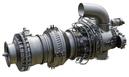 Motor de avión de turbina de gas de planta de energía. Representación 3D. Foto de archivo