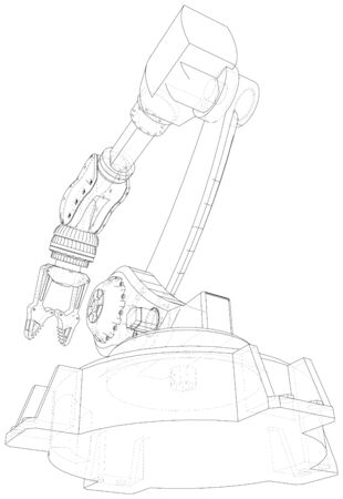 Industrial robot manipulator. EPS10 format. Wire-frame Vector created of 3d. EPS10 format. Stock Illustratie