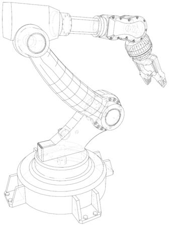 Robotic arm. Technical wire-frame. Vector rendering of 3d. EPS10 format. Stock Illustratie