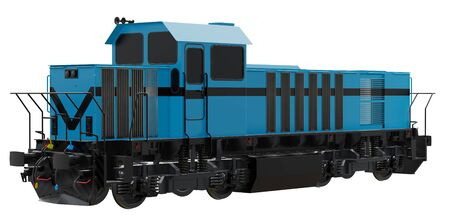 Powerful Diesel Locomotive on isolated white background. 3d rendering.