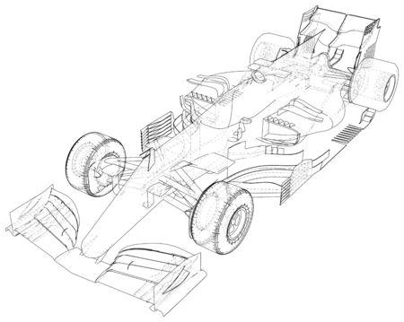 Race car. Wire-frame illustration 일러스트
