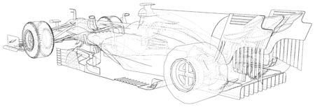 Racing car. Wire-frame illustration