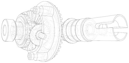 Automobile car gearbox with toothed wheels. Wire-frame. EPS10 format. Vector created of 3d. Illusztráció