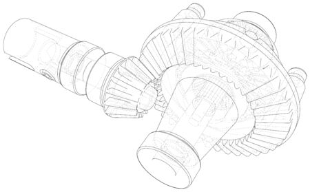 Automobile car gearbox with toothed wheels. Inside view on gearbox cross section with gears and shafts. Vector of 3d. Wire-frame style. Illusztráció