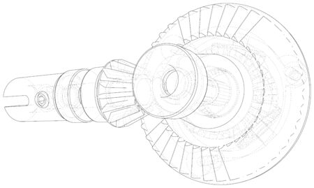 Automobile car gearbox with toothed wheels. Inside view on gearbox cross section with gears and shafts. Vector of 3d. Wire-frame style. Illustration