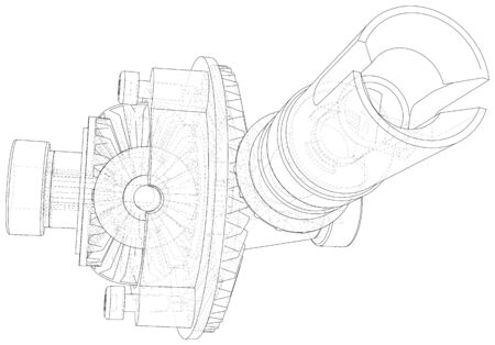 Automobile car gearbox with toothed wheels. Wire-frame. EPS10 format. Vector created of 3d. Illustration