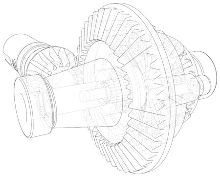 Gear wheels close-up. Vector rendering of 3d. Wire-frame.