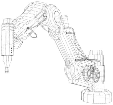 Robotic Arm Hand isolated on white. Technical wire-frame. Vector rendering of 3d.