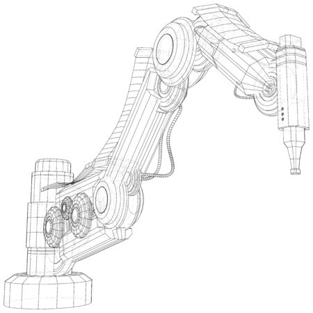 Robot hand. EPS10 format. Wire-frame Vector created of 3d. Stock Illustratie