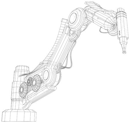 Robot arm, industrial machinery. Technical illustration wire-frame. Vector rendering of 3d.