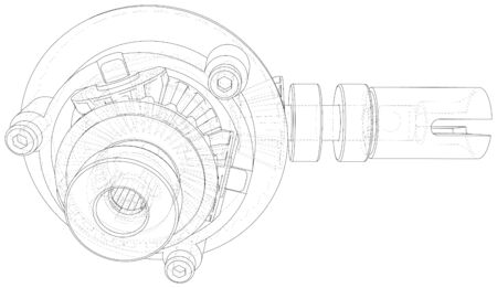 Gearbox sketch. Vector rendering of 3d. Wire-frame style.