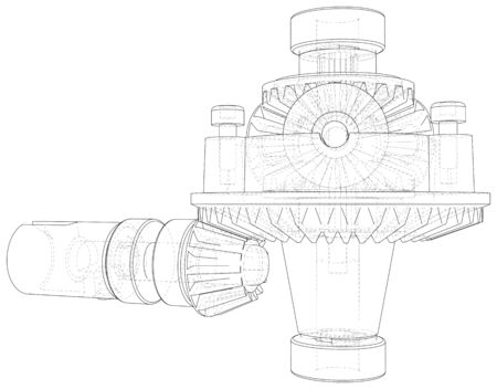 Inside view on gearbox cross section with gears and shafts. Wire-frame. EPS10 format. Vector created of 3d.