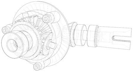 Boîte de vitesses à l'intérieur sur fond blanc. Rendu vectoriel de 3d. Style fil de fer. Vecteurs