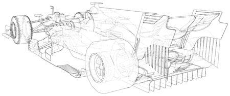 Model speed car. Wire-frame. EPS10 format. Vector rendering of 3d. Stock fotó - 131950933