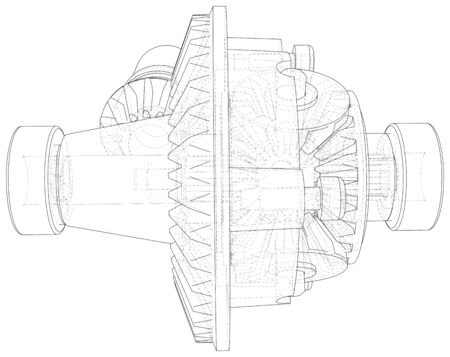 Transmission gearbox inside on white background. Vector rendering of 3d. Wire-frame style. Illusztráció