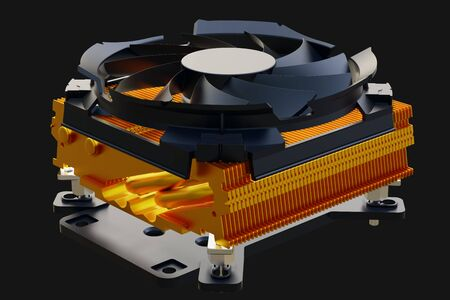 CPU fan cooler for PC. 3D rendering.