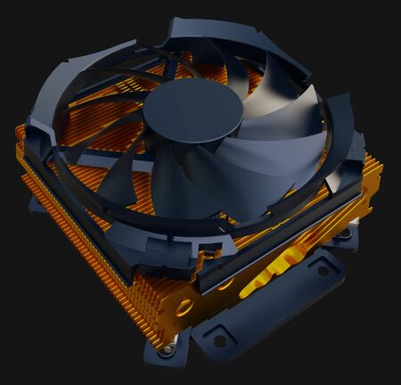 CPU cooler with the copper finned heat-sink and the fan. 3d rendering.