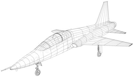 Plane vector, Vector wireframe concept. Created illustration of 3d. 일러스트