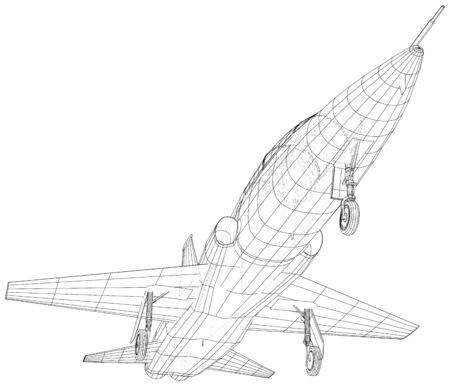 Airplane jet close-up. Vector rendering of 3d. Wire-frame.