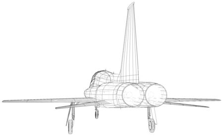 Airplane jet close-up. Wire-frame. Vector created of 3d.